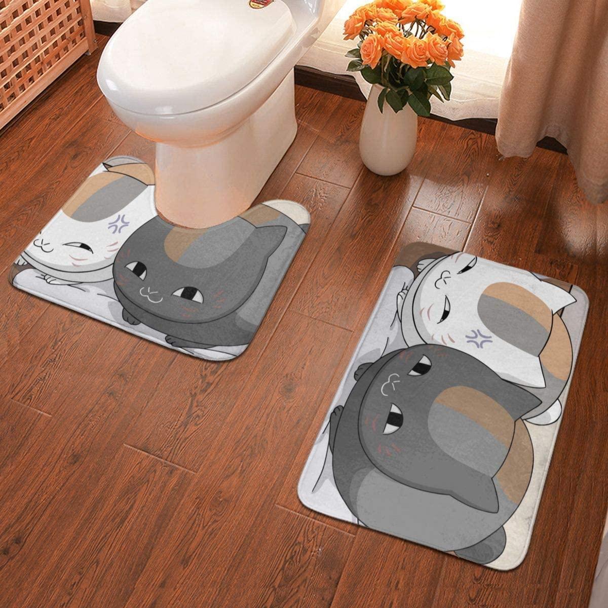 Boweike Natsume Yuujinchou Bathroom Antiskid Pad Non-Slip Bath Carpet Floor Mat Rug 2 Sets -Floor Mat+U-Shaped Pad, Toilet Washable Blanket Mats for Bathroom Home Shower