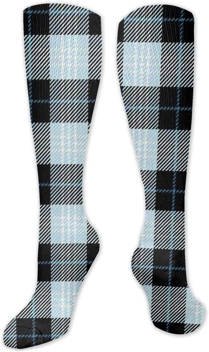 Compression Sock for Women & Men,Blue and White Plaid CasualLongKneeHighTubeSocksforRunnning,SoccerAthleticSports,Travel-50cm