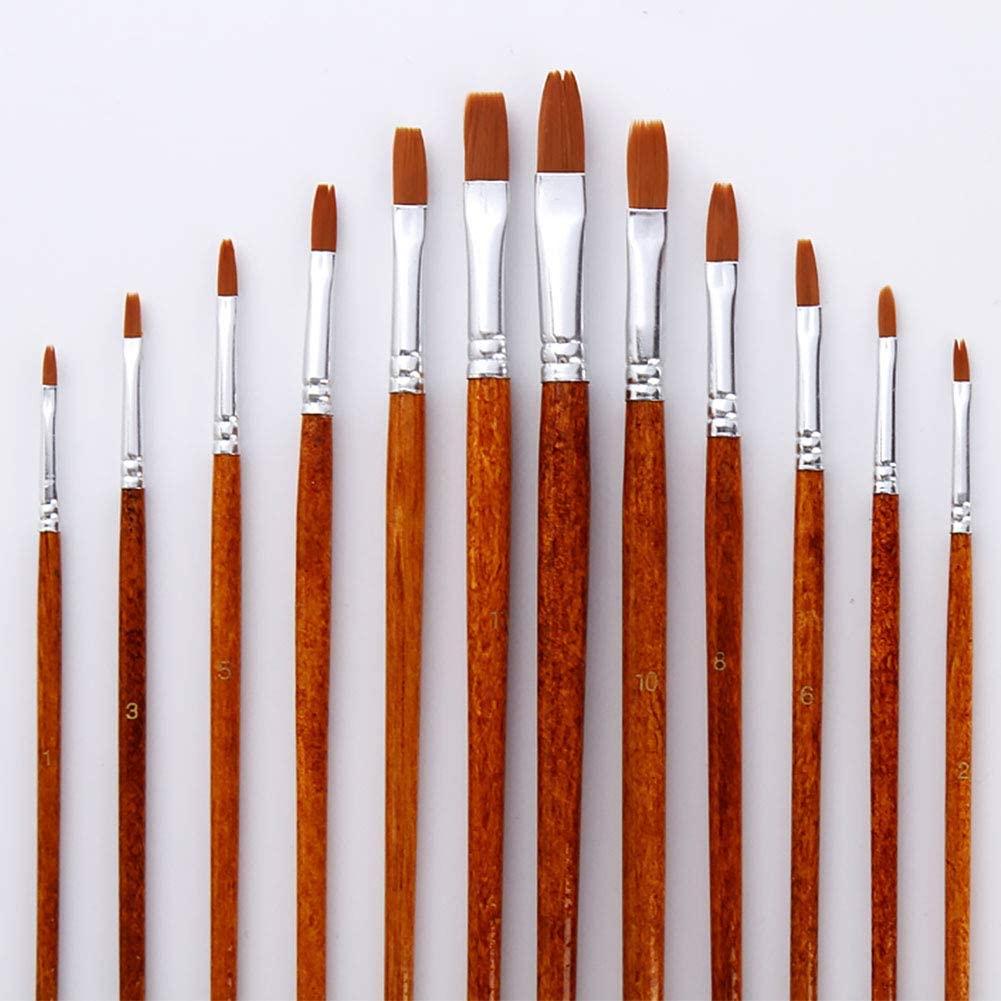 Paint Brush 12pcs Nylon Art Supplies Watercolor Set Drawing Fine Acrylic Reusable Oil Painting Wood Handles Pointed Flat(Flat)