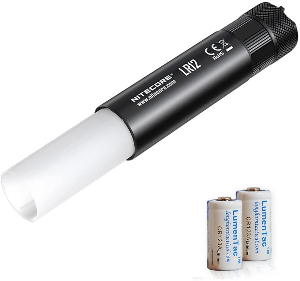 Nitecore LR12 1000 Lumen Mini 2-in-1 Lantern Flashlight with 2X LumenTac CR123A Batteries