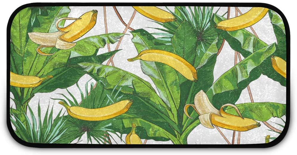 Plush Shag Rug Floor Mats - Tropical Bananas Palm Living Room Rug Carpet Non Slip Absorbent Shoes Mat for Kitchen Toilet, 39 x 20 inches