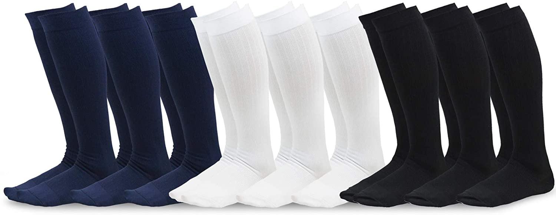 TeeHee Sports Compression Knee High Socks with Rib 9-Pack