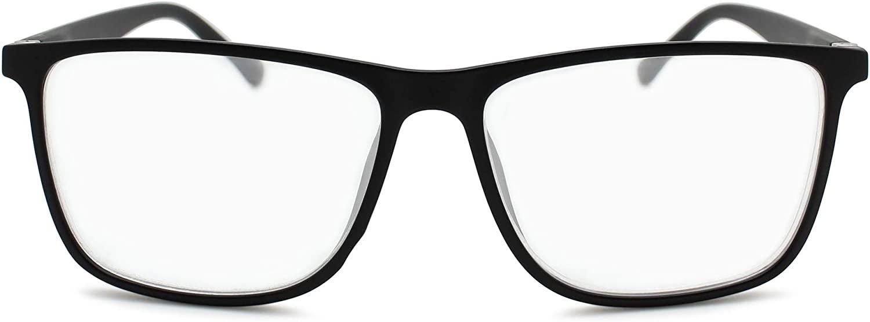 2SeeLife Reading Glasses for Men: Large Retro Readers, Wide Square Eyeglass Frame, Fully Magnified Rectangular Lenses | Matte Black, 1.50
