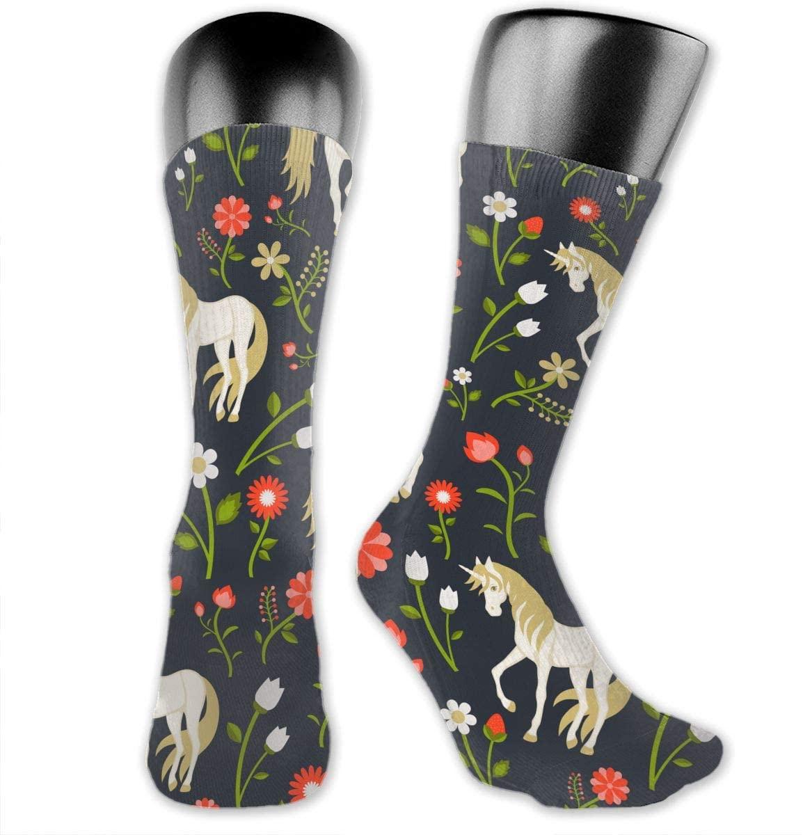 Unicorn Flowers (2) Unisex Outdoor Long Socks Sport Athletic Crew Socks Stockings