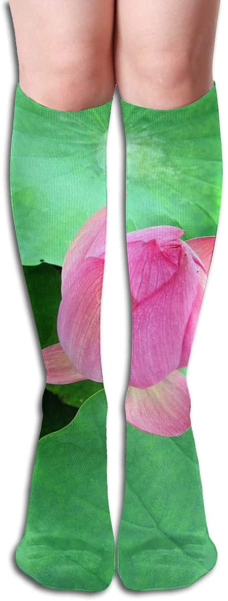 Lotus Pink Leaf,Design Elastic Blend Long Socks Compression Knee High Socks (50cm) for Sports