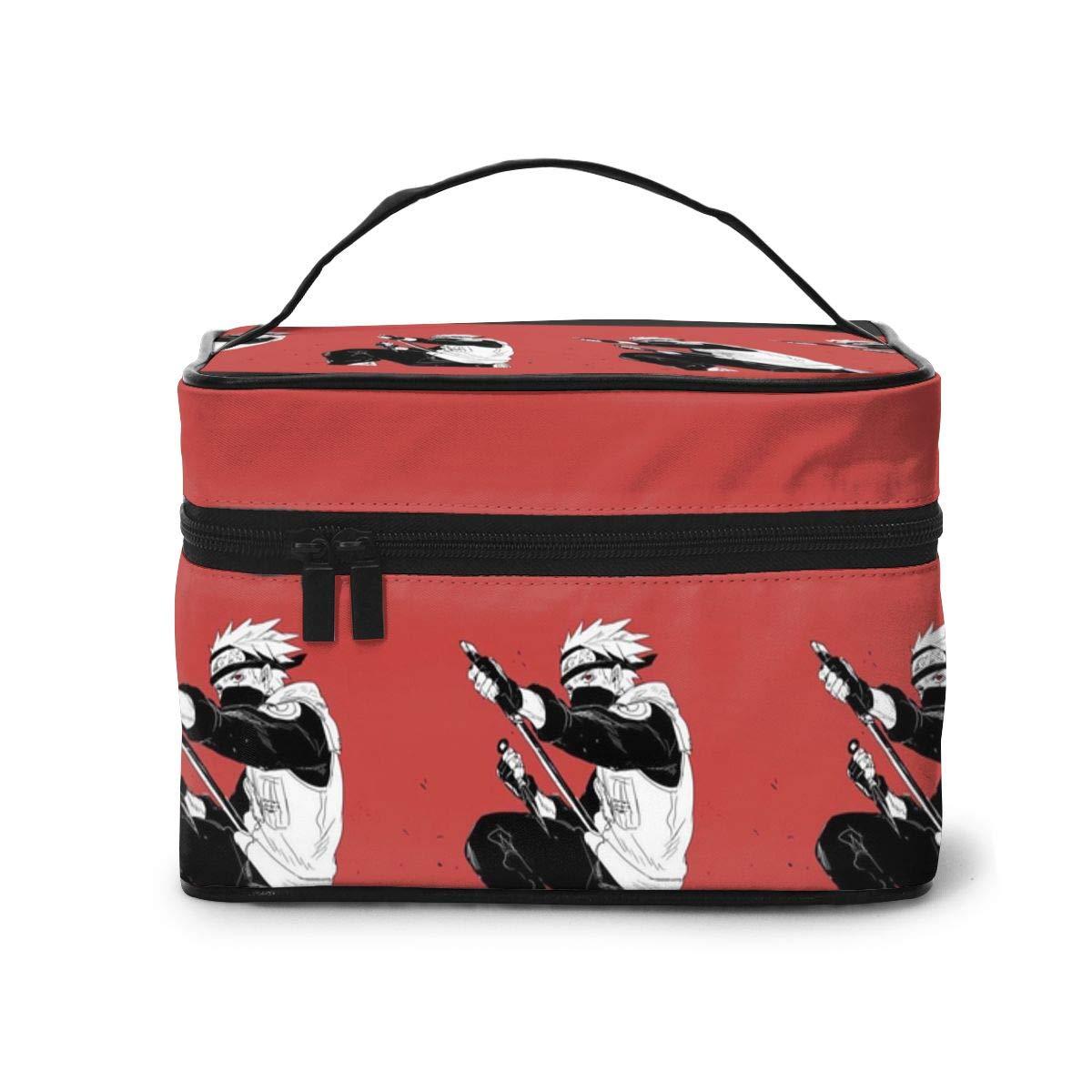 Makeup Bag, Naruto Kakashi Travel Portable Cosmetic Bag Large Pouch Mesh Brush Organizer Toiletry Bag for Women Girls
