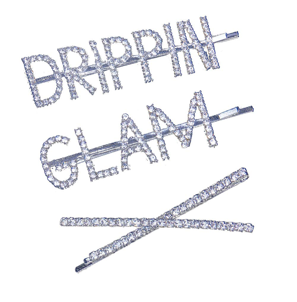 Rhinestones Bobby Pins Silver Plated Words Letter Crystal Hair Pins Metal Hair Clips Hair Barrettes Sparkly Hair Accessories 3PCS (3PCS)