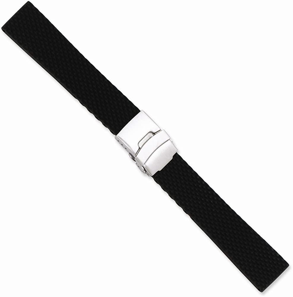 Sonia Jewels 20mm Blk Textured Silicone Silver-Tone Deploy Buckle Watch Band 7.5