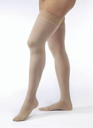 Jobst Opaque THIGH HIGH Firm Compression 20-30mmHg M Silky Beige Open-Toe
