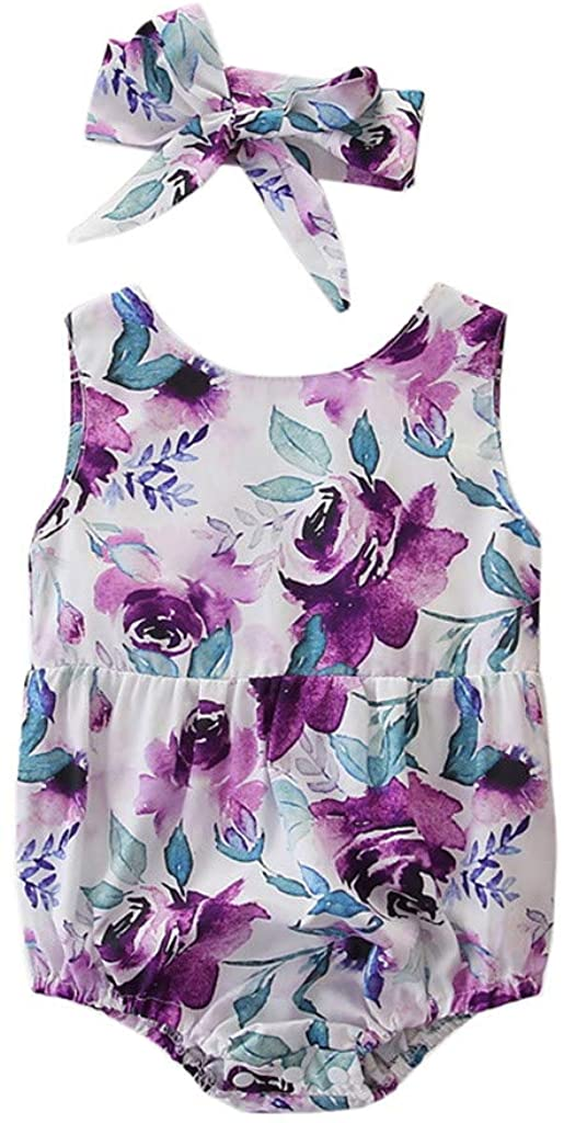 Fineday Romper Jumpsuits Baby Hotsales!!! for 3-6 Months Newborn Kids Clothes Flower Print Romper Bodysuit+Headband Set Boys Girls Tops Outfits