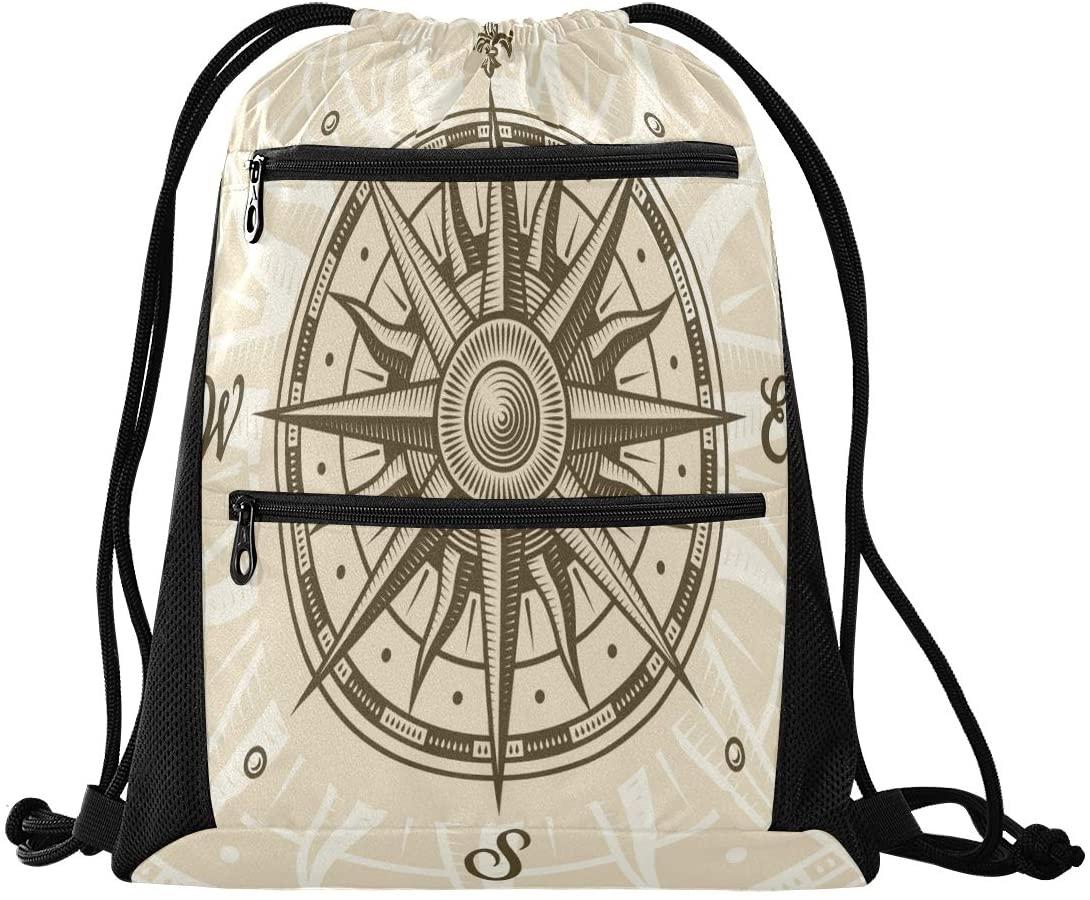 Drawstring Backpack Sport Gym Sackpack - Vintage Antique Compass Drawstring Bag with Zipper Pocket Sport Cinch Pack Sport Backpack for Shopping Hiking