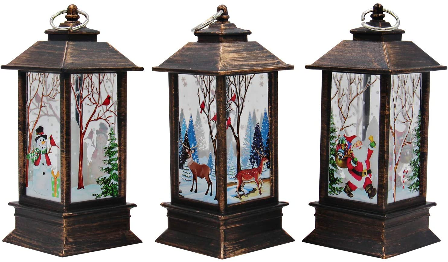 3 PCS Christmas Decoration Lamp Simulated Flame Candle Night Light Santa Claus Snowman Elk Hanging Lamps - Battery Included