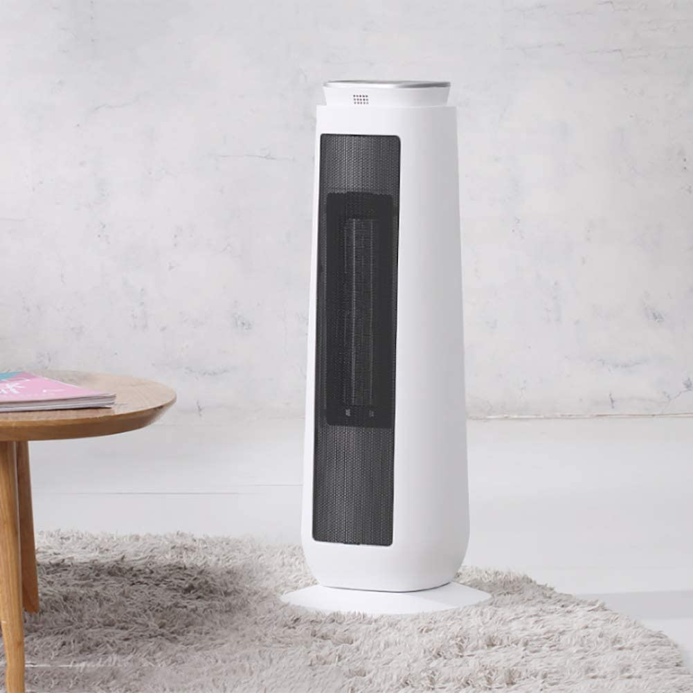 AMYDREAM Electric cerami Heater with Remote Control, Oscillating Tower Fan Heater Adjustable Thermostat Digital Tower Heater-White 22x22x58cm(9x9x23)