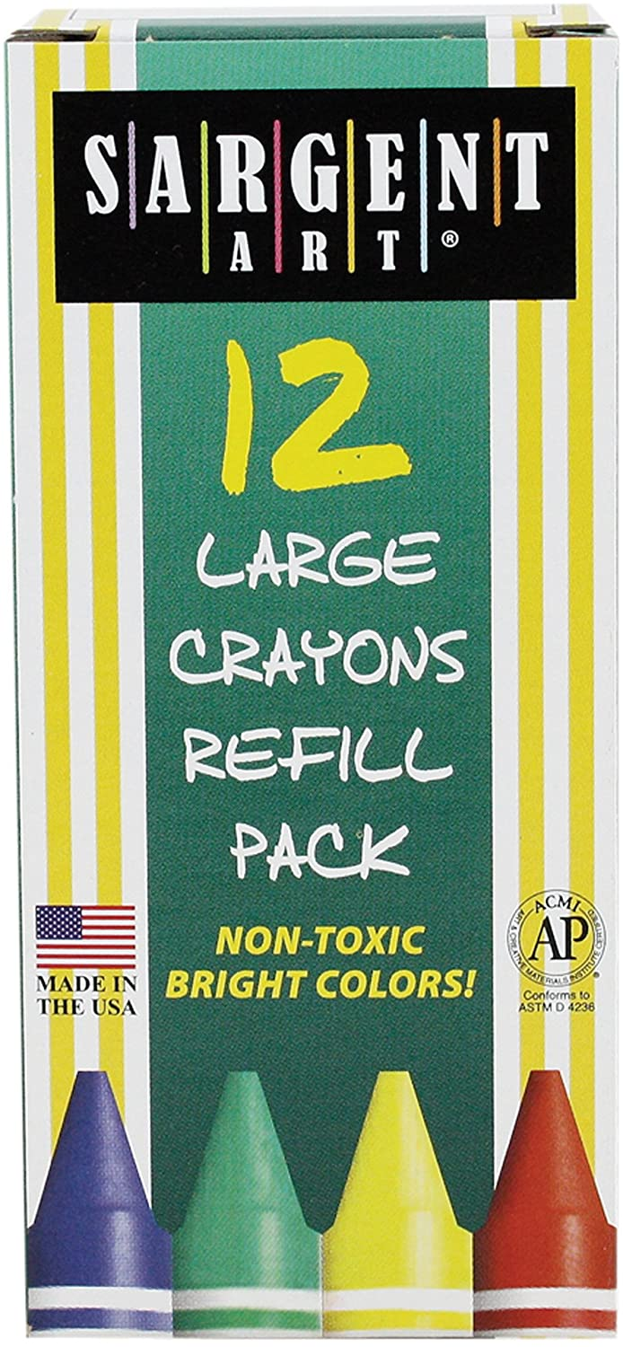 Sargent Art 22-0720 12-Count Box Large Crayon Refill, Red