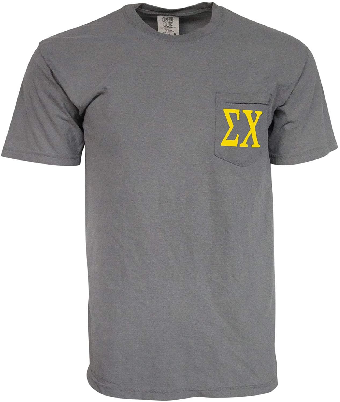 Mega Greek Mens Sigma Chi Comfort Color Pocket T-Shirt