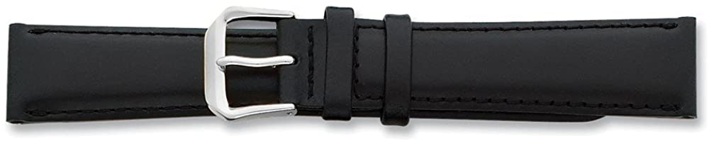 Sonia Jewels 19mm Black Italian Leather Silver-Tone Buckle Watch Band 7.5