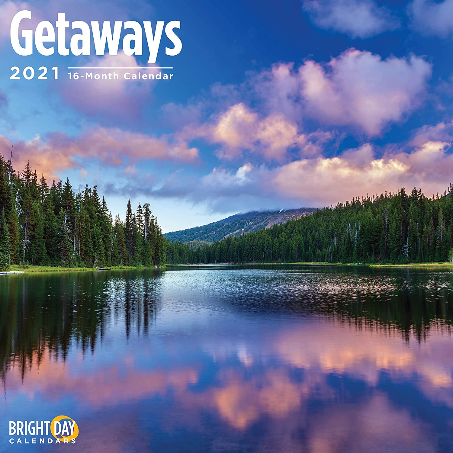 2021 Getaways Wall Calendar by Bright Day, 12 x 12 Inch, Tropical Paradise Beach Vacation