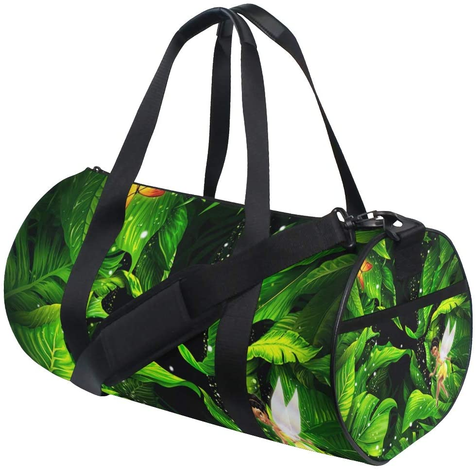 Brighter Fairy With Leaves Fitness Sports Bags Gym Bag Travel Duffel Bag for Mens and Womens
