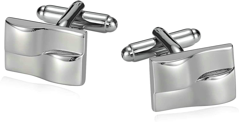 Aooaz Cufflinks Jewelry Stainless Steel Cufflinks Rhodium Plated Wave Cufflinks for Groomsmen Wedding Cufflinks Silver