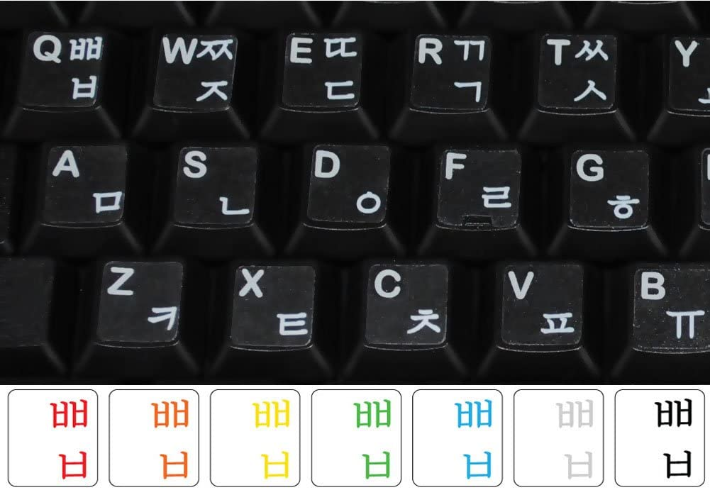 Korean Transparent with White Lettering Labels for Any Computer Keyboards