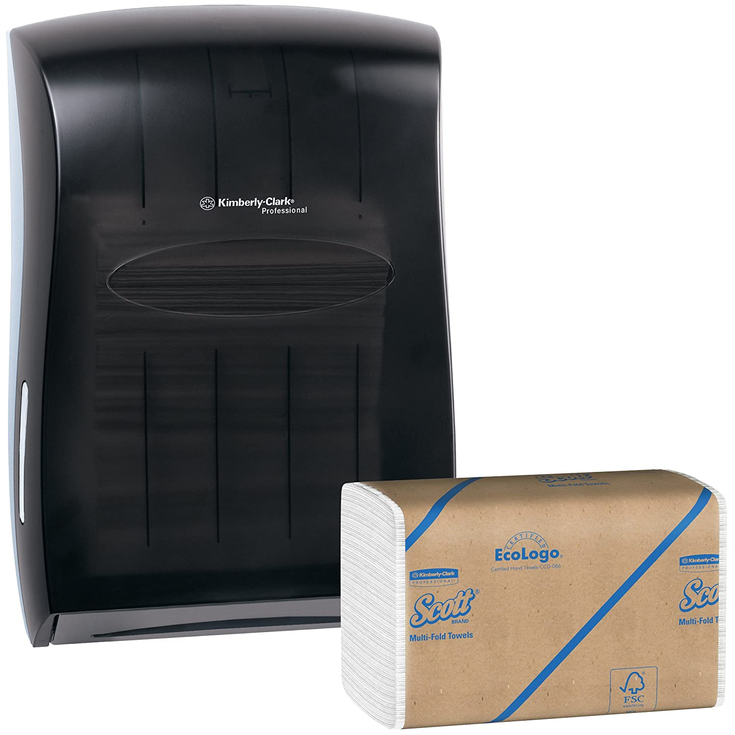 Kimberly Clark Paper Towel Dispenser (Black) with 15 Packs of 250 Scott Multifold Paper Towels (4,000 Towels)