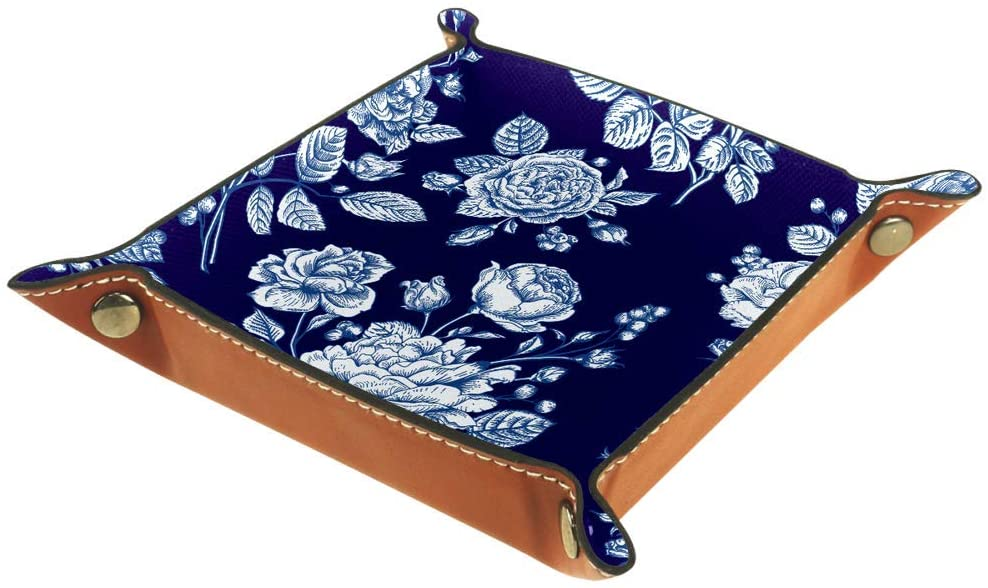 Beautiful Blue Rose Microfiber Leather Desk Tray Practical Storage Box for Wallets Keys and Office Equipment,Kids Storage Boxes