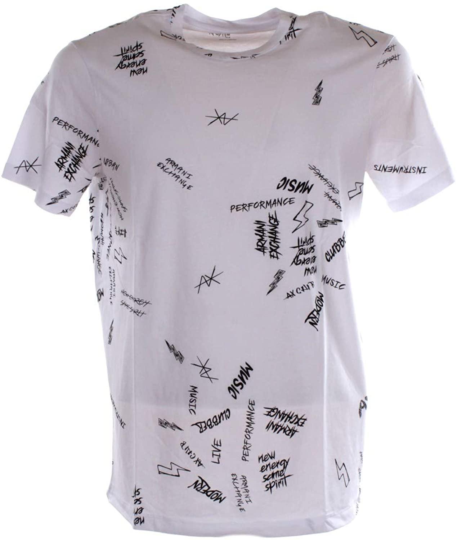 AX Armani Exchange Men's Slim Fit Rock Print Crewneck Cotton Graphic Tee