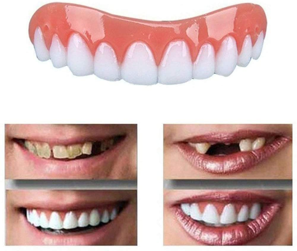 JYZ 4PCS Denture Fake Teeth Veneers Snap in Teeth,Cosmetic Tooth Replacement Kit Comfortable Upper Veneer Fit Oral Care, Smile Confident in Minutes