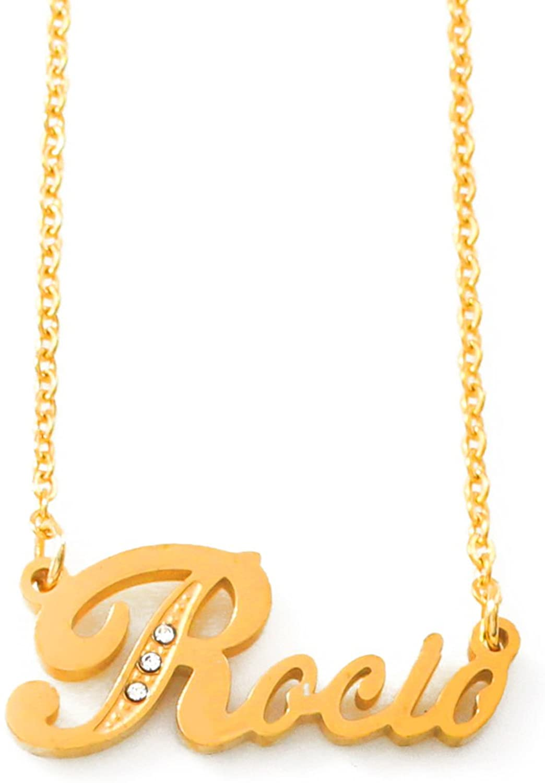 Italic Name Necklace Rocio - Gold Tone Incl. Crystals