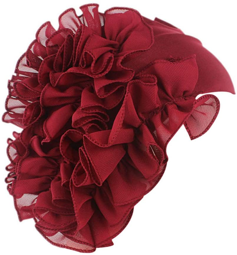 Women Flower Cancer Chemo Hat Beanie Scarf Turban Head Wrap Cap Headband WE, Hat, Clothing Shoes & Accessories HotSales (Wine Red)