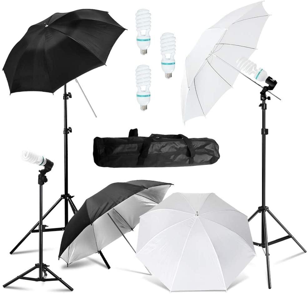 JULIUS STUDIO Photography Umbrella Lighting Kit, 85W 6500K Day Light Continuous Studio Lights Equipment for Portrait Video Studio Shooting, JSAG519