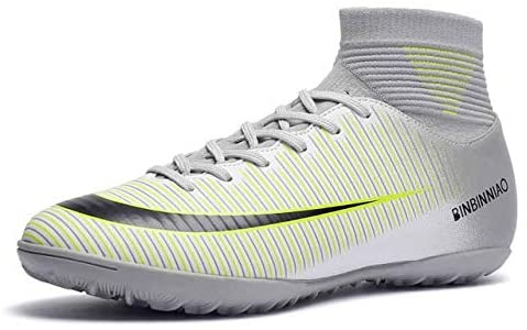 Linmatealliance Outdoor&Sports Outdoor&Sports Shoes High Top Non-Slip Wearable and Comfortable Football Boots Soccer Cleats for Men, Shoe Size:10(Long Spikes Black) (Color : TF White)