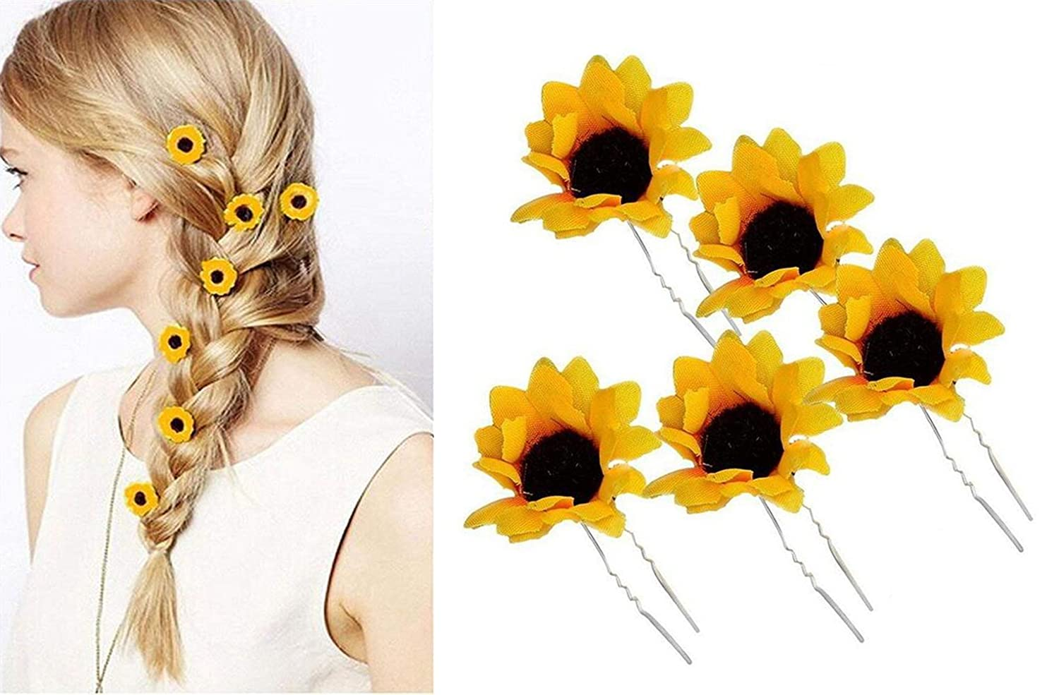 10PCS Good-looking Daisy Sunflower U-shaped Hairpins Hair Clips Hair Clamp Hair Clasp Headpiece Decoration for Wedding Bridal Holiday Beach Party Women Lady Girls(Yellow)