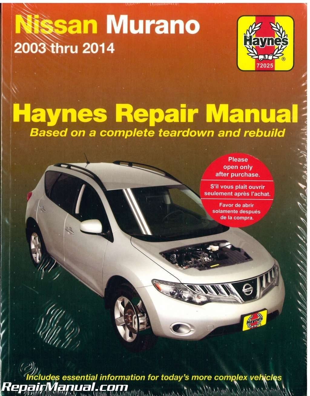 Haynes Repair Service Manual H72025 for Nissan Murano 2003-2014