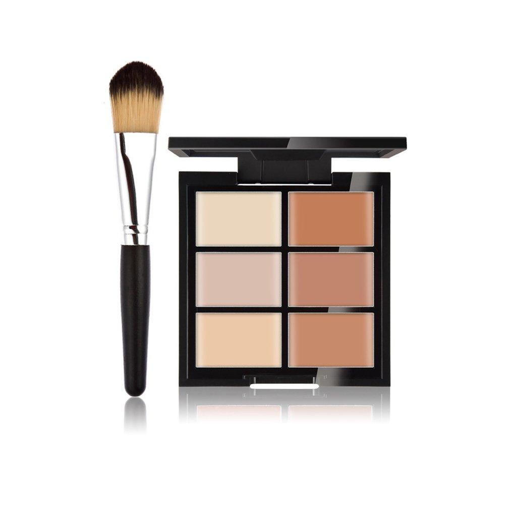 FantasyDay Makeup Gift 6 Colors Cosmetics Cream Contour and Highlighting Makeup Kit - Foundation/Concealer Palette + 1 Pc Beauty Foundation Blending Blush Face Powder Brush Makeup Brush Kit #2