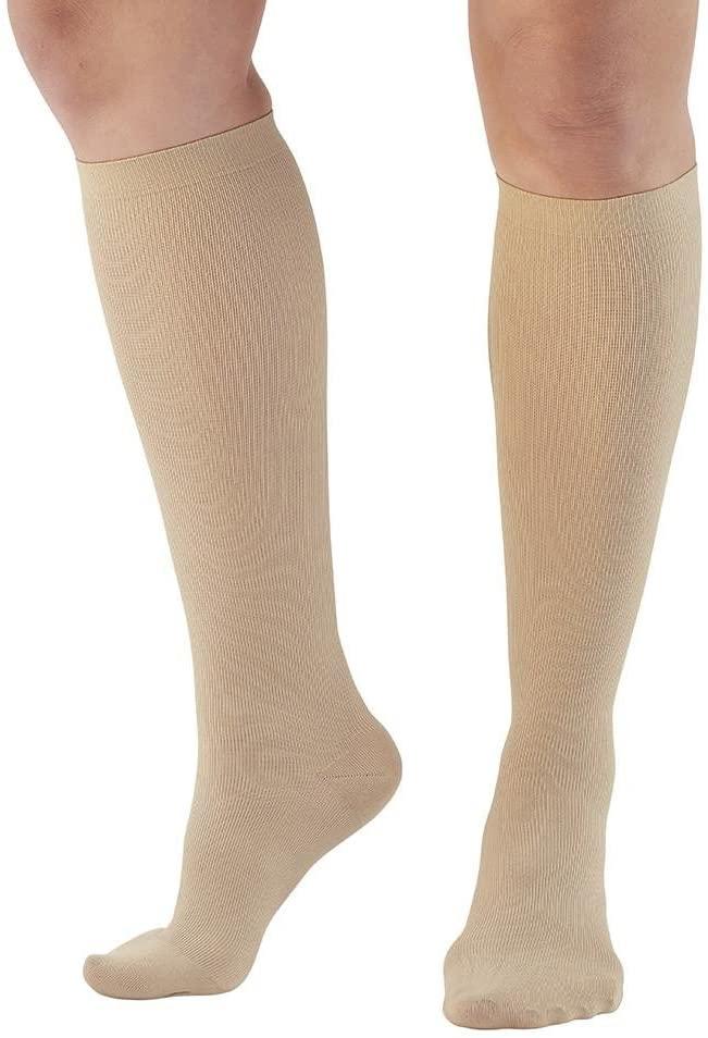 Ames Walker AW Style 136 Womens Microfiber 20 30mmHg Knee High Socks Tan MD