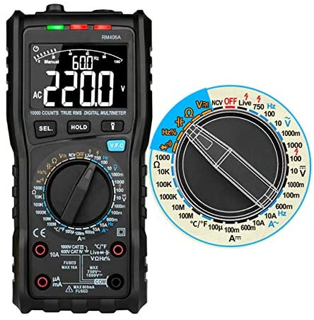 Digital Multimeter Analog Tester Capacitance DC 10000 Counts multimetro profissional Anti-burn Alarm,RM406A Color Box