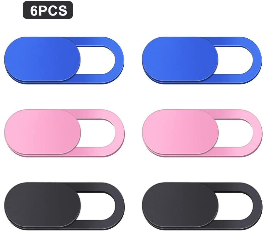 6PCS Webcam Cover Slide Camera Privacy Security Protect Sticker for Phone Laptop (2 Blue +2 Pink+2 Black)