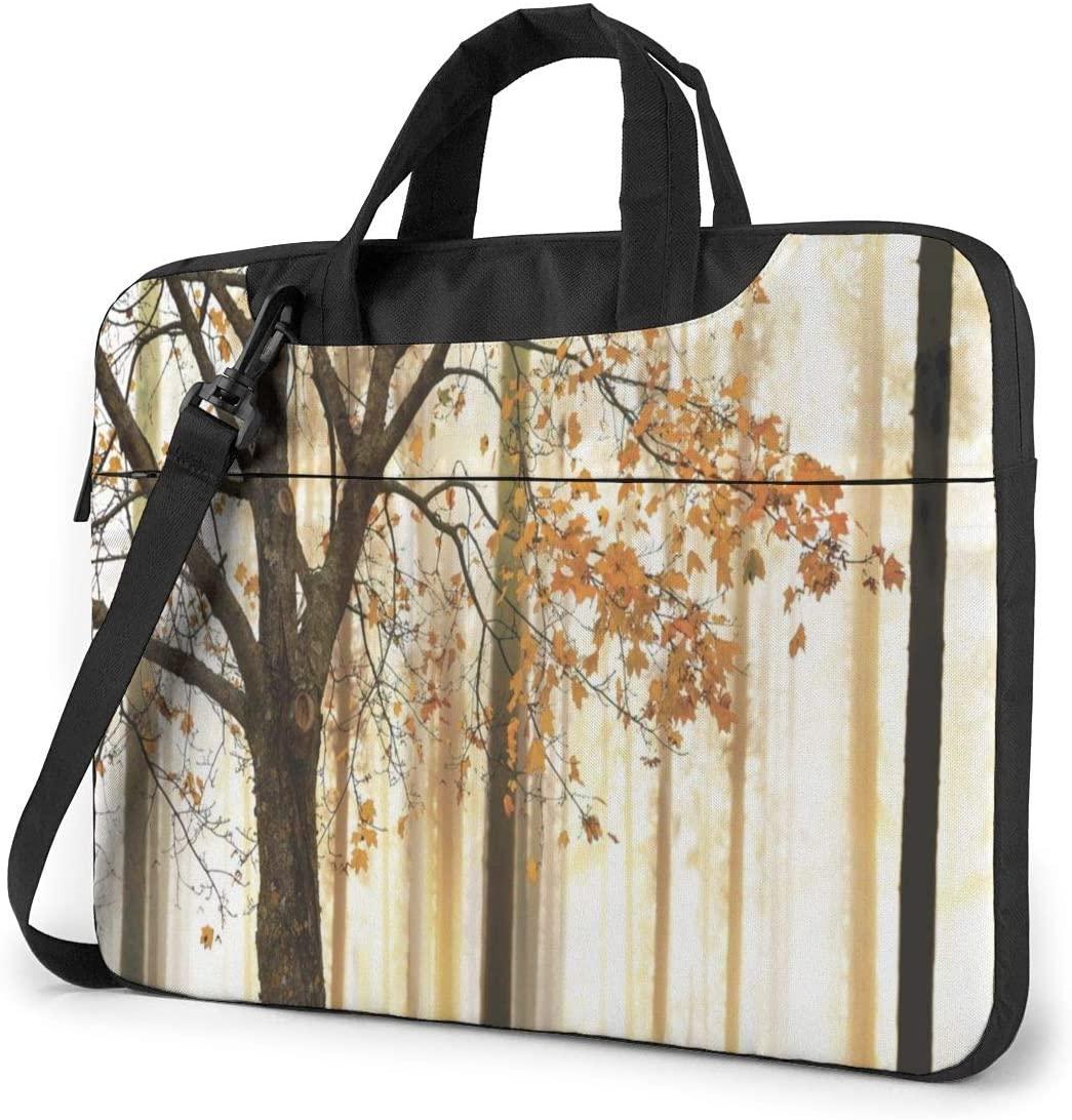 Laptop Shoulder Bag - Woodland Orange Leaves Printed Shockproof Waterproof Laptop Shoulder Backpack Bag Briefcase 15.6 Inch