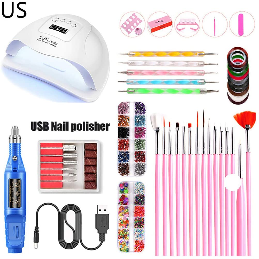 minansostey Nail Art Tool 80W UV LED Nail Polish Dryer Lamp Electric Grinder Polisher Nail Brush Dotting Painting Pen Manicure Set