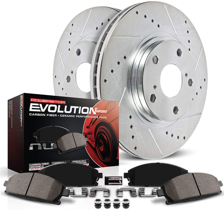 Power Stop K2139 Front Brake Kit with Drilled/Slotted Brake Rotors and Z23 Evolution Ceramic Brake Pads