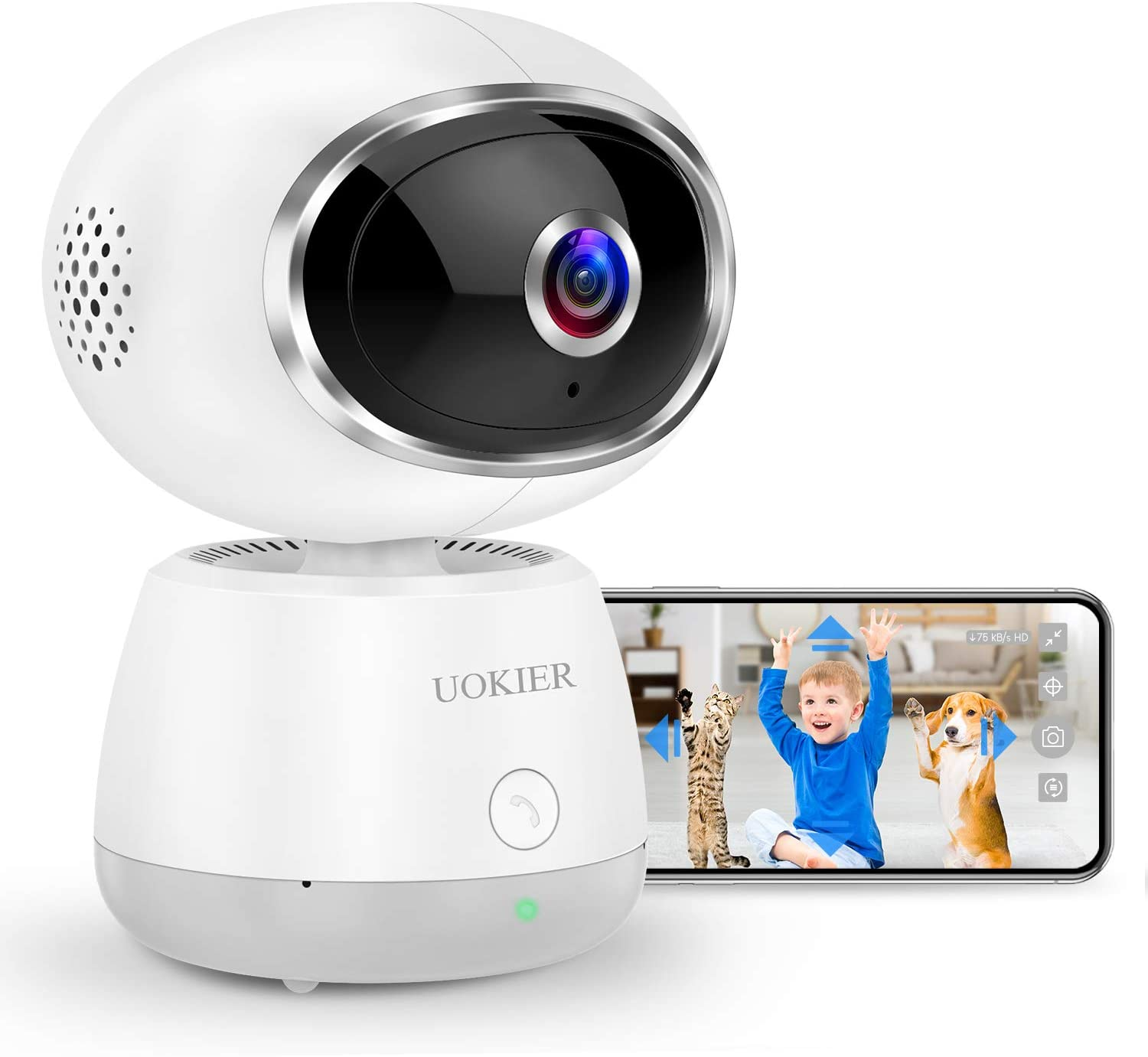 WiFi Home Security Camera UOKIER Wi-Fi Indoor Pan/Tilt/Zoom IP Pet Camera, 1080P Baby Monitor with Smart Motion Detection, Motion Tracking, Night Vision, 2-Way Audio, TF/Cloud Storage