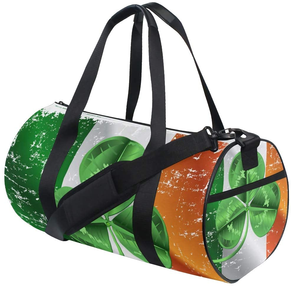 Brighter Irish Flag With Shamrock Fitness Sports Bags Gym Bag Travel Duffel Bag for Mens and Womens