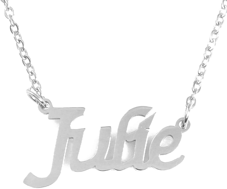 Zacria Julie Custom Name Necklace Personalized - Silver Tone