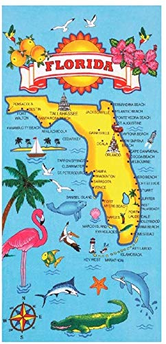 Gym Towel, Florida Map Pattern printing, Thin Travel Camping Bath Sauna Beach Gym Pool Blanket, 19.7x39.4 Inches