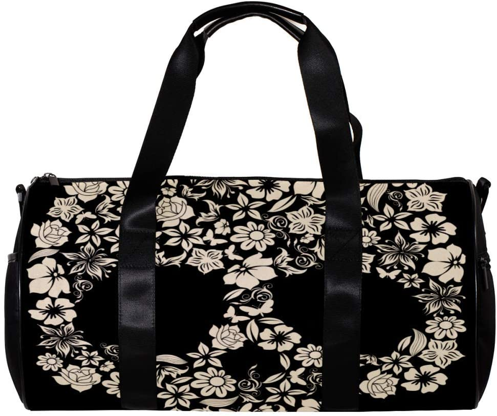 imobaby Duffel Gym Bag Flower Skull ShapeSports Travel Shoulder Bags Tote for Men and Women