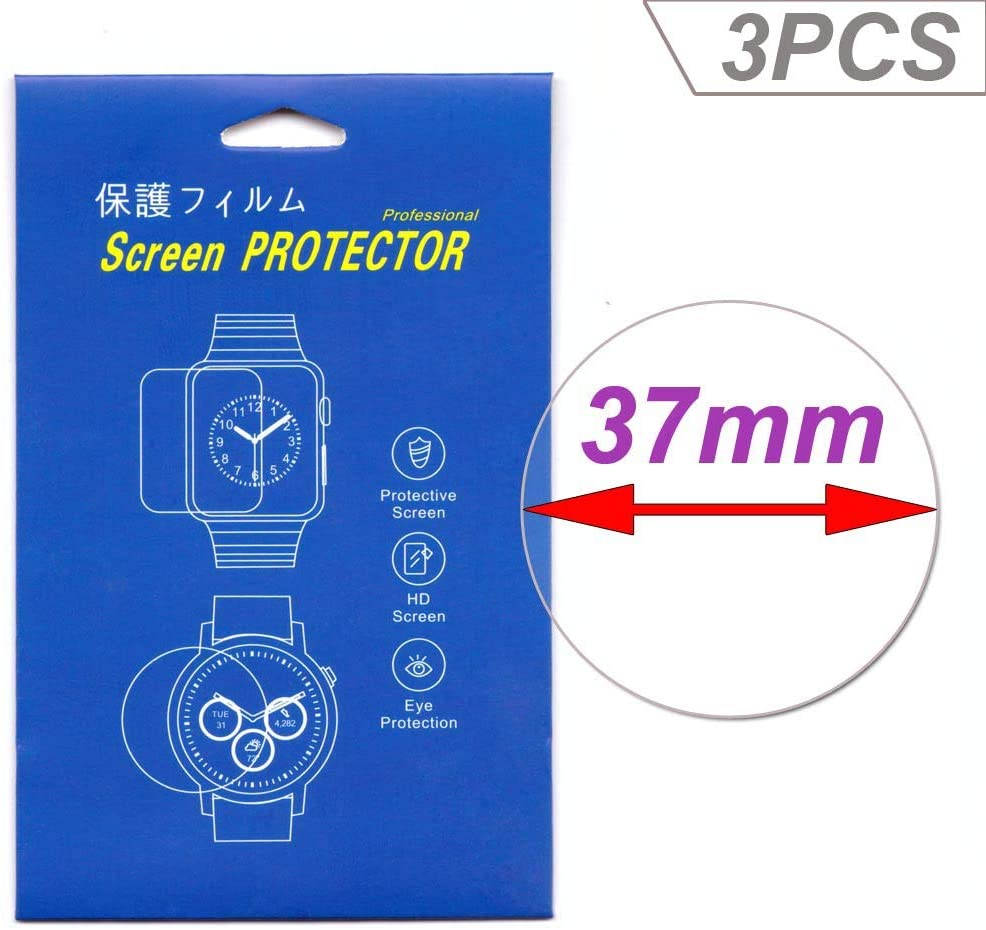 [3-Pcs] Smartwatch Screen Protector Universal Round Watch HD Screen Protector Clear HD Film with Anti-Fingerprint, Anti-Bubble,Anti-Scratch (37MM)