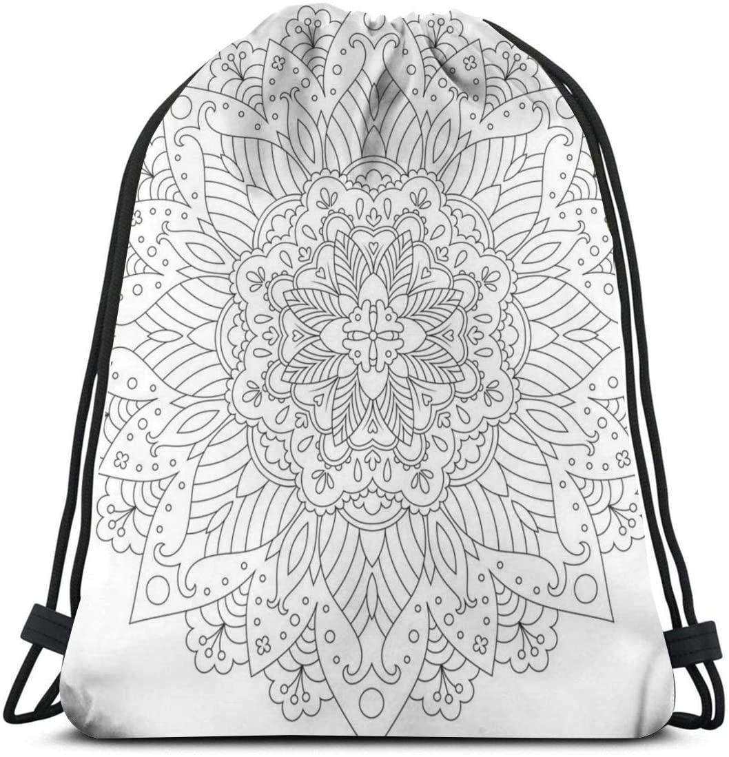 Backpack Drawstring Bags Cinch Sack String Bag Mandala Art Retro Background Sackpack For Beach Sport Gym Travel Yoga Camping Shopping School Hiking Men Women