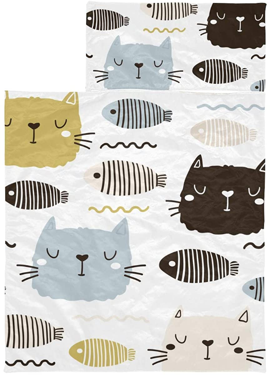Sleeping Bag For Traveling Cat Cute Lovely Pet Cartoon Toddler Nap Mat For Boys Soft Microfiber Lightweight Kid Camping Sleeping Bag Perfect For Preschool, Daycare And Sleepovers