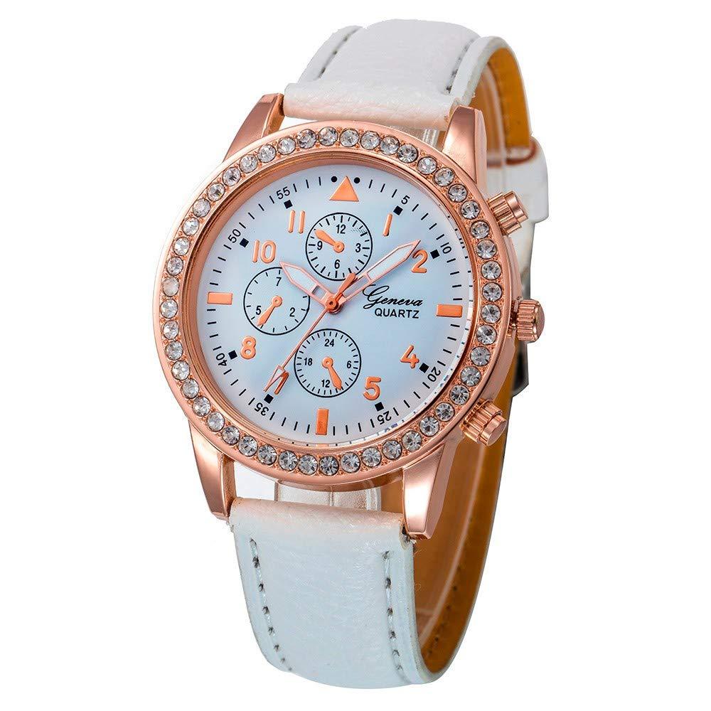 USVSU Womens Wrist Watch Fashion PU Leather Band Quartz Round Watches